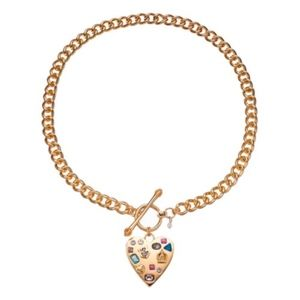 JUICY COUTURE Gold Heart Crystal Toggle Necklace